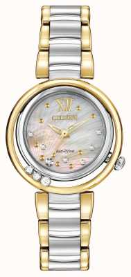 Citizen Eco-drive sunrise l womens diamond dos tonos EM0324-58D