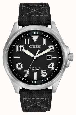 Citizen Reloj para hombre de la correa de conducción ecológica militar AW1410-08E