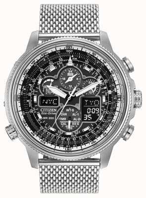 Citizen navihawk para hombre del reloj en el dial negro de acero inoxidable JY8030-83E