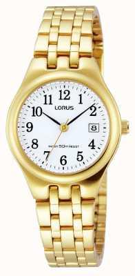 Lorus correa de reloj de pulsera chapado en oro de la fecha RH786AX9