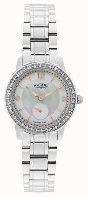 Rotary Damas de acero inoxidable reloj análogo de cuarzo LB02700/41