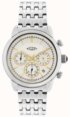 Rotary Caballeros reloj análogo de cuarzo de plata de plata GB02876/02