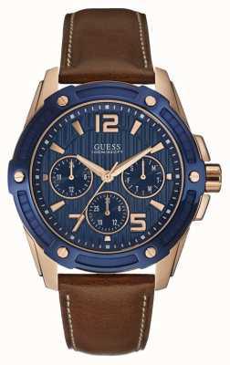 Guess Para hombre insignia de múltiples funciones del reloj de oro rosa W0600G3