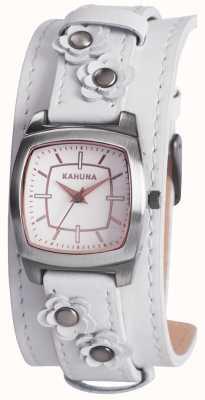 Kahuna Señoras flor blanca reloj detalle manguito KLS-0241L