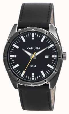 Kahuna Reloj para hombre correa de cuero negro KUS-0115G