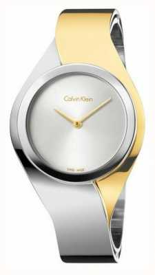Calvin Klein Para mujer sentidos, dos tonos, oro y acero de pequeño reloj K5N2S1Y6