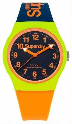 Superdry Armada Urbano reloj correa de silicona de color naranja SYG164MU