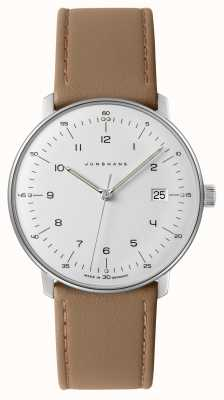Junghans Reloj max bill de cuero beige con esfera blanca para hombre 041/4562.04