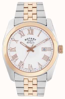 Rotary Lausana para hombre, dos tonos, rosa reloj de oro GB90111/01