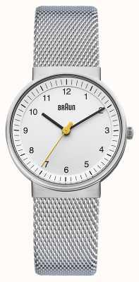 Braun Reloj de señoras | correa de malla de acero inoxidable | esfera blanca | BN0031WHSLMHL