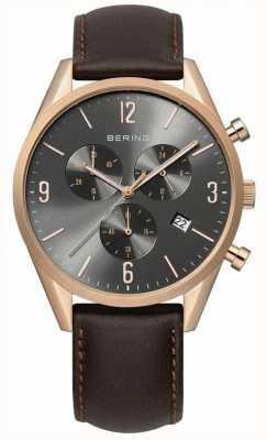 Bering Mens de oro rosa, esfera gris, reloj de cuero 10542-562