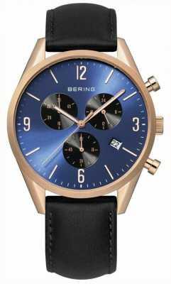 Bering Mens de oro rosa, esfera azul, cuero negro 10542-567