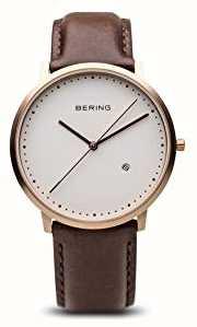 Bering Caballeros esfera blanca correa de cuero marrón 11139-564