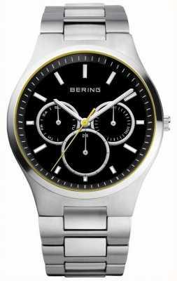 Bering Mens esfera de color negro, acento de color amarillo, multi línea 13841-702