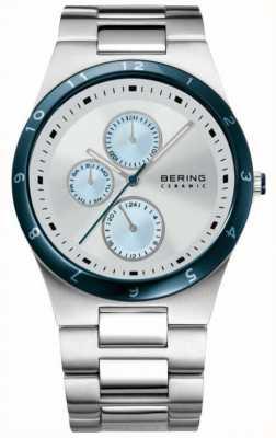 Bering Esfera blanca y azul caballero de acero inoxidable 32339-707