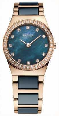 Bering Señoras cerámica azul, oro rosa, la línea de perlas 32426-767