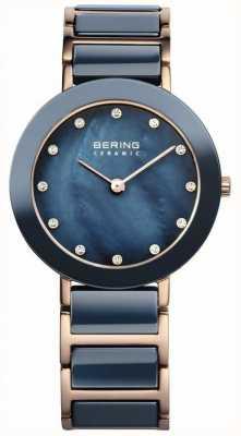 Bering Señoras cerámica azul rosa madre de la perla de oro 11429-767