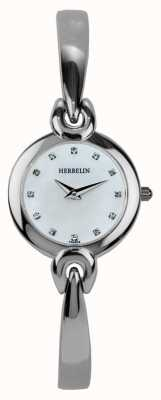 Michel Herbelin Señoras caja de acero inoxidable, nácar 17001/B59