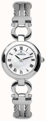 Michel Herbelin Damas de cable de acero pulsera de reloj 17422/B29