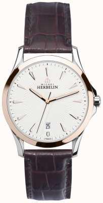 Michel Herbelin Caballeros lira de acero y correa de reloj de oro rosa 12213/TR12MA
