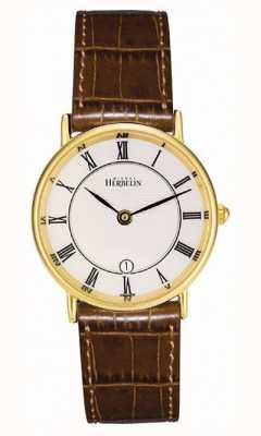 Michel Herbelin Chapado en oro de las señoras de la correa de cuero clásico 16845/P08GO