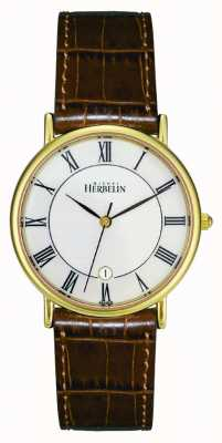 Michel Herbelin Plateado para hombre pvd oro reloj, de cuero marrón 12443/P08GO