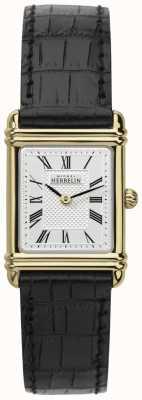 Michel Herbelin Señoras de oro plateado, correa de piel de línea romana 17478/P08