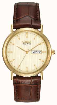 Citizen Reloj de hombre marrón correa reloj de cóctel BM8242-08P