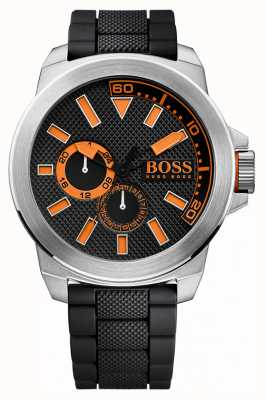 Hugo Boss Orange Acero inoxidable caballero, correa de caucho negro 1513011