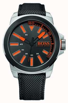 Hugo Boss Orange Acero inoxidable caballero, correa de cuero negro 1513116