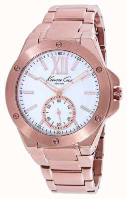 Kenneth Cole Señoras rosa bañados en pvd oro esfera blanca KC10020842