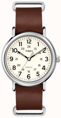 Timex Originales WEEKENDER correa de cuero marrón T2P495