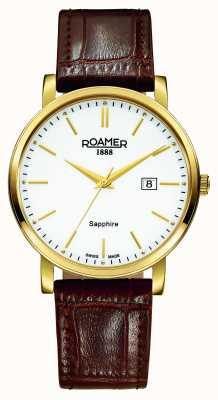 Roamer Línea clásica | correa de cuero marron | esfera blanca 709856-48-25-07