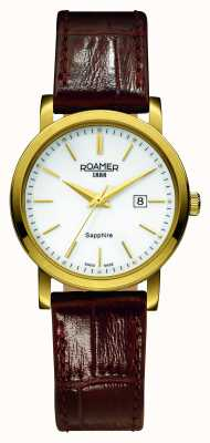 Roamer Línea clásica | correa de cuero marron | esfera blanca 709844-48-25-07