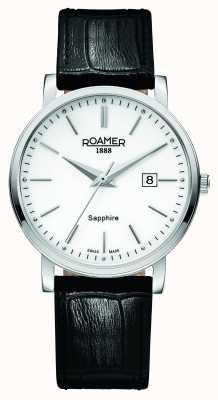 Roamer Línea clásica | correa de cuero negro | esfera blanca 709856-41-25-07
