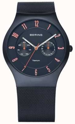 Bering Para hombre clásico, titanio azul oscuro, el acento anaranjado 11939-393