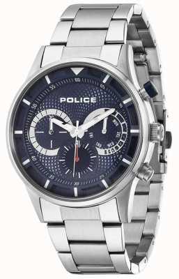 Police esfera azul de acero inoxidable controlador para hombre 14383JS/03M