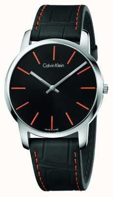 Calvin Klein Ciudad caballero correa de cuero negro esfera de color negro K2G211C1