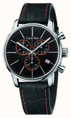 Calvin Klein Cronógrafo Caballeros ciudad correa de cuero negro K2G271C1