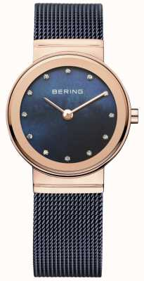 Bering Señoras azul pvd malla caja de oro rosa 10126-367