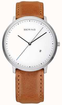 Bering Caballeros esfera blanca correa de cuero marrón 11139-504