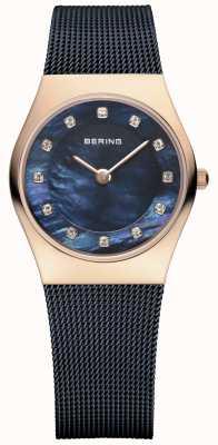 Bering Señoras malla azul correa PVD caja de oro rosa 11927-367