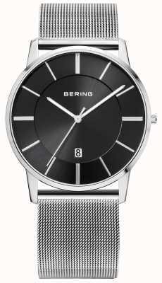 Bering Caballeros malla de acero inoxidable Correa de línea negro 13139-002