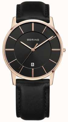 Bering Caballeros correa de cuero negro PVD caja de oro rosa 13139-466