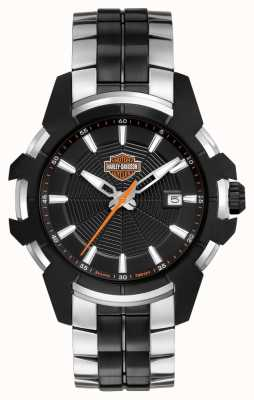 Harley Davidson Telaraña para hombre | pulsera de acero bicolor | esfera negra 78B124