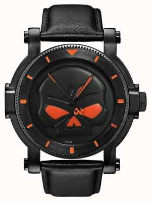 Harley Davidson G del reloj para hombre del cráneo Willie negro 78A114
