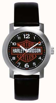 Harley Davidson Reloj para hombre de la correa de cuero negro 76A04