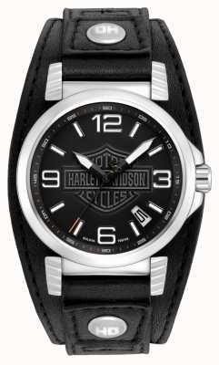 Harley Davidson Reloj de cuero negro para hombre de acero inoxidable. 76B163