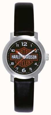 Harley Davidson Señoras reloj correa de cuero negro 76L10
