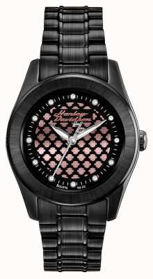 Harley Davidson para mujer Rose negra y reloj de oro 78L112
